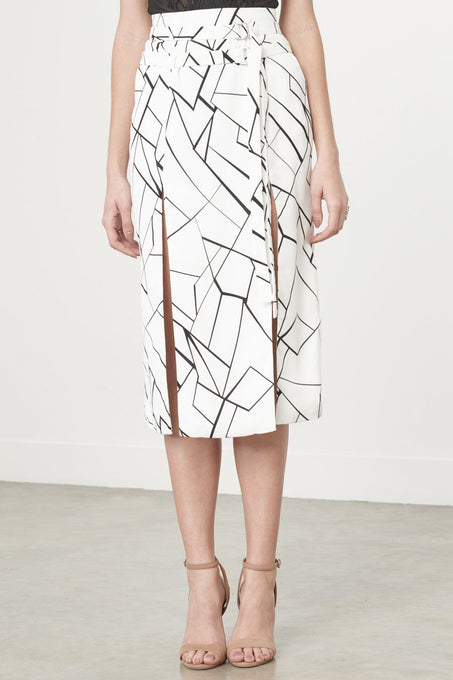 Monochrome Cracked Abstract Print Double Split Midi Skirt