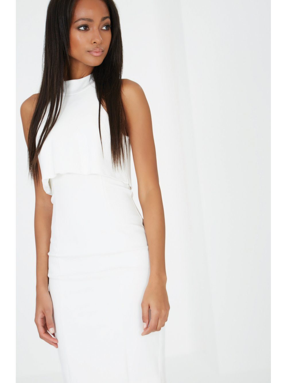White High Neck Split Back Bodycon Midi Dress