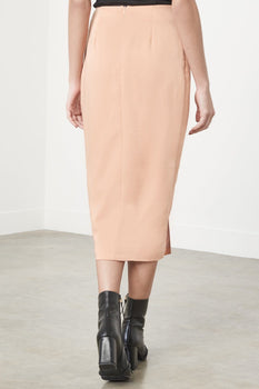Knot-Front Skirt in Apricot Satin