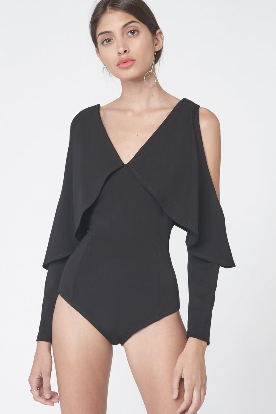 Drop Shoulder Bodysuit in Black