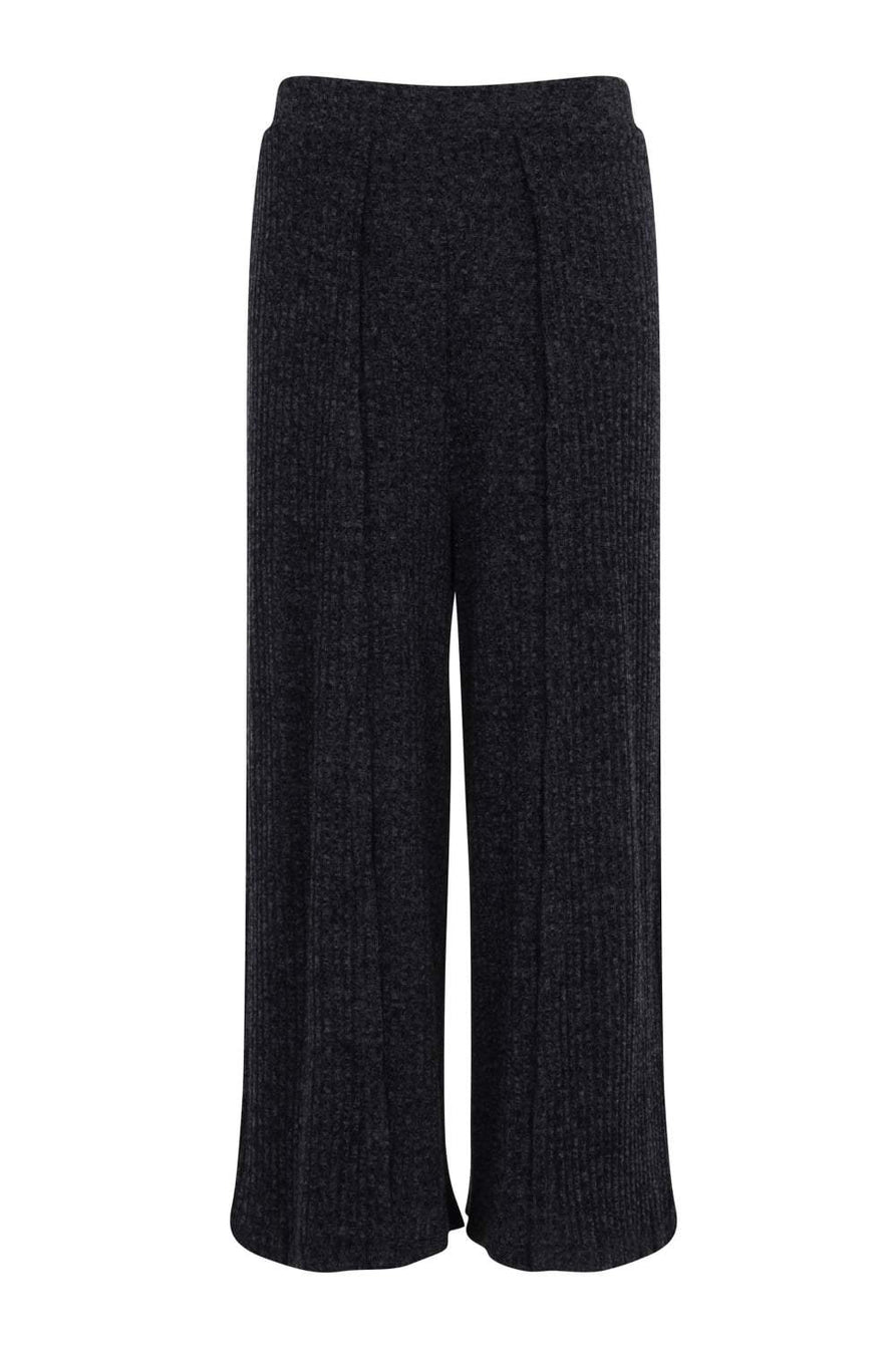 Navy Rib Knit Split Side Culottes