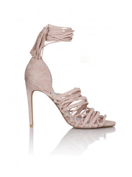 Sabra Pink Suede Lace Up Sandals