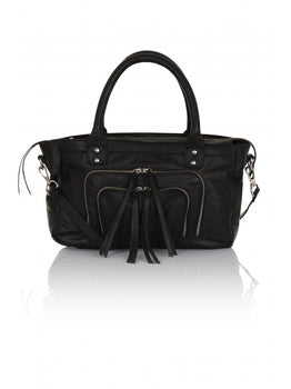 Black Leather Zip Detail Tote Bag