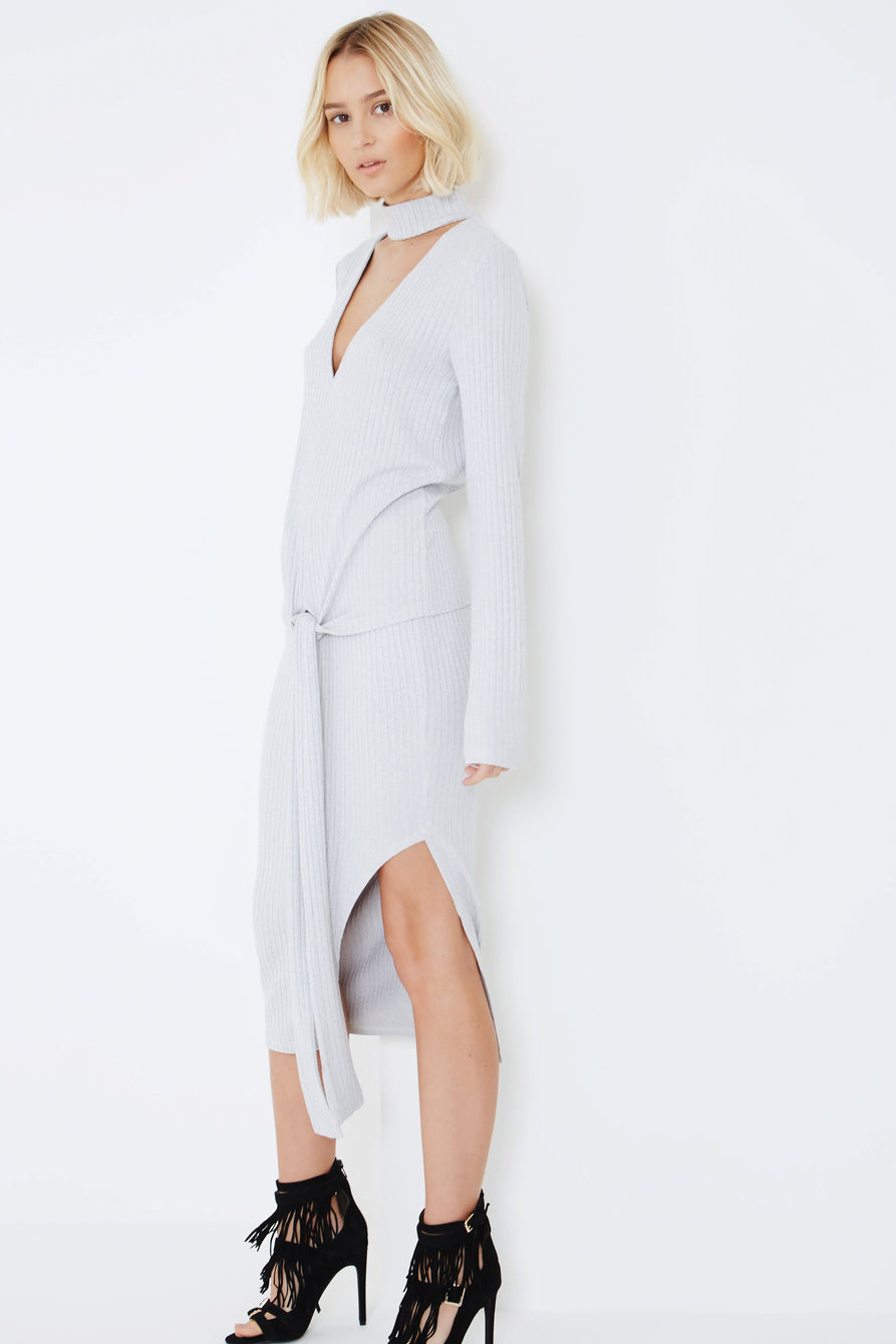 Light Grey Rib Knit Asymmetric Midi Skirt