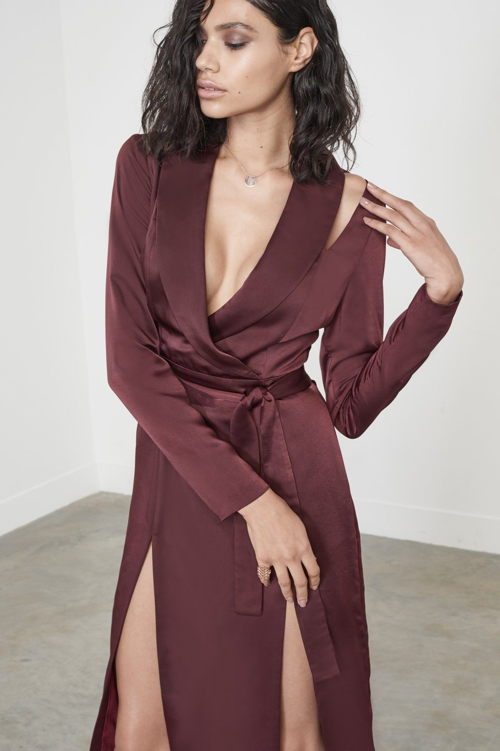 Wine Satin Cut Out Shoulder Double Split Midi Dress