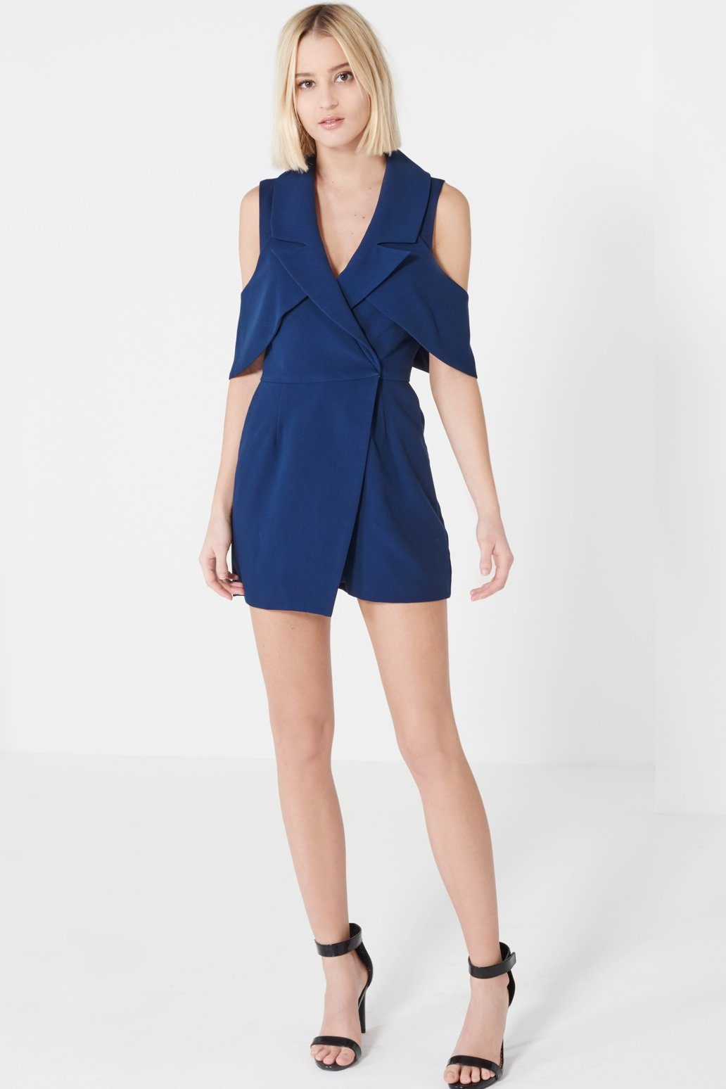 Navy Open Sleeve Deep Plunge Tailored Playsuit
