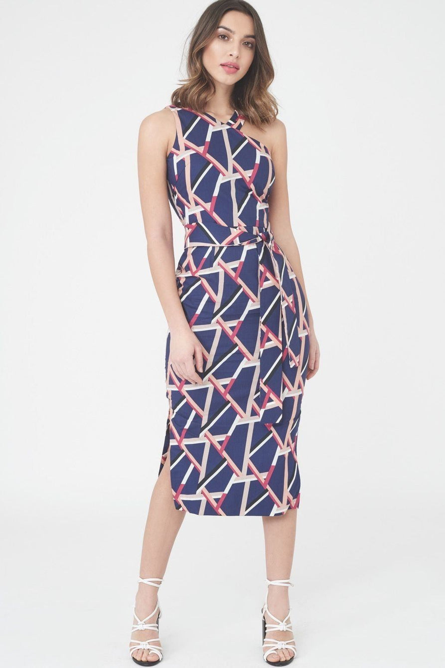 Abstract Print One Shoulder Midi Dress