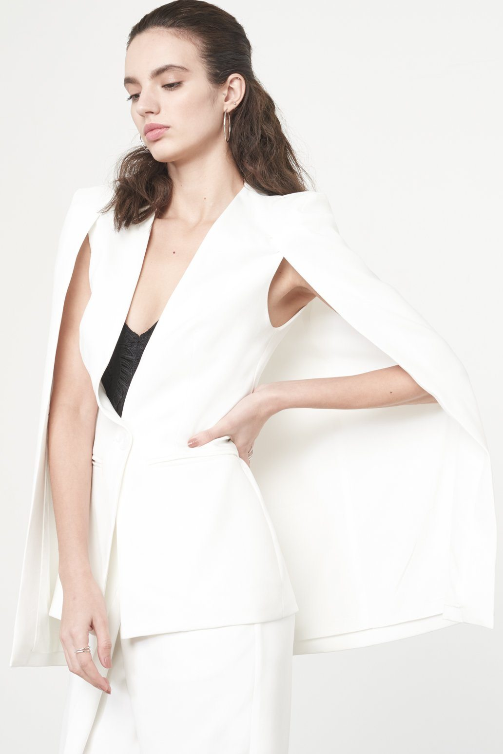 Caped Blazer in White