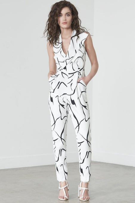 Sleeveless Tailored Jumpsuit in Mono Print