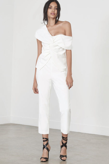Twisted Asymmetric Jumpsuit in Soft White