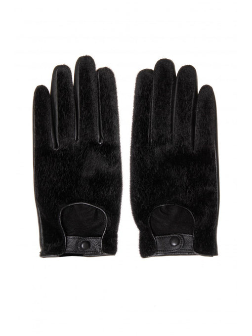 Black Leather & Faux Pony Hair Gloves