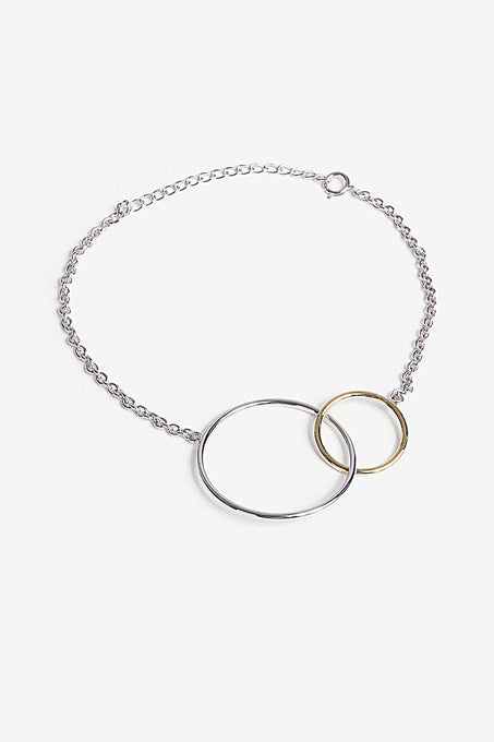 Double Hoop Bracelet in Gold Plated Sterling Silver