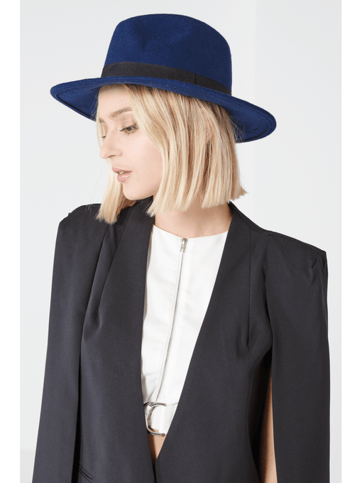 Navy Wool Fedora Hat