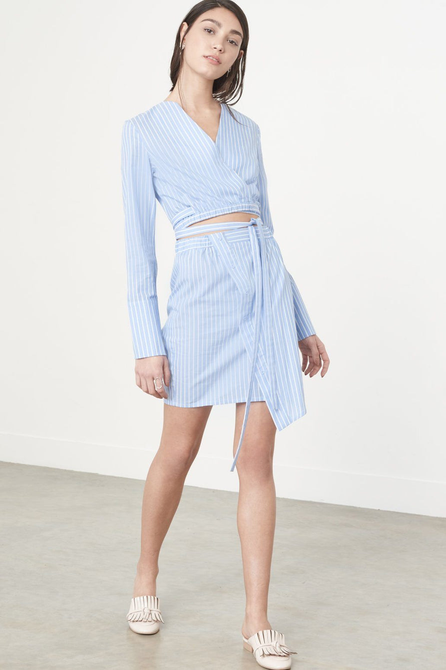 Blue & White Pinstripe Cotton Asymmetric Button Detail Mini Skirt