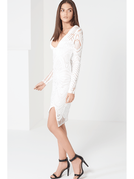White Embroidered Mesh Deep Plunge Centre Split Midi Dress