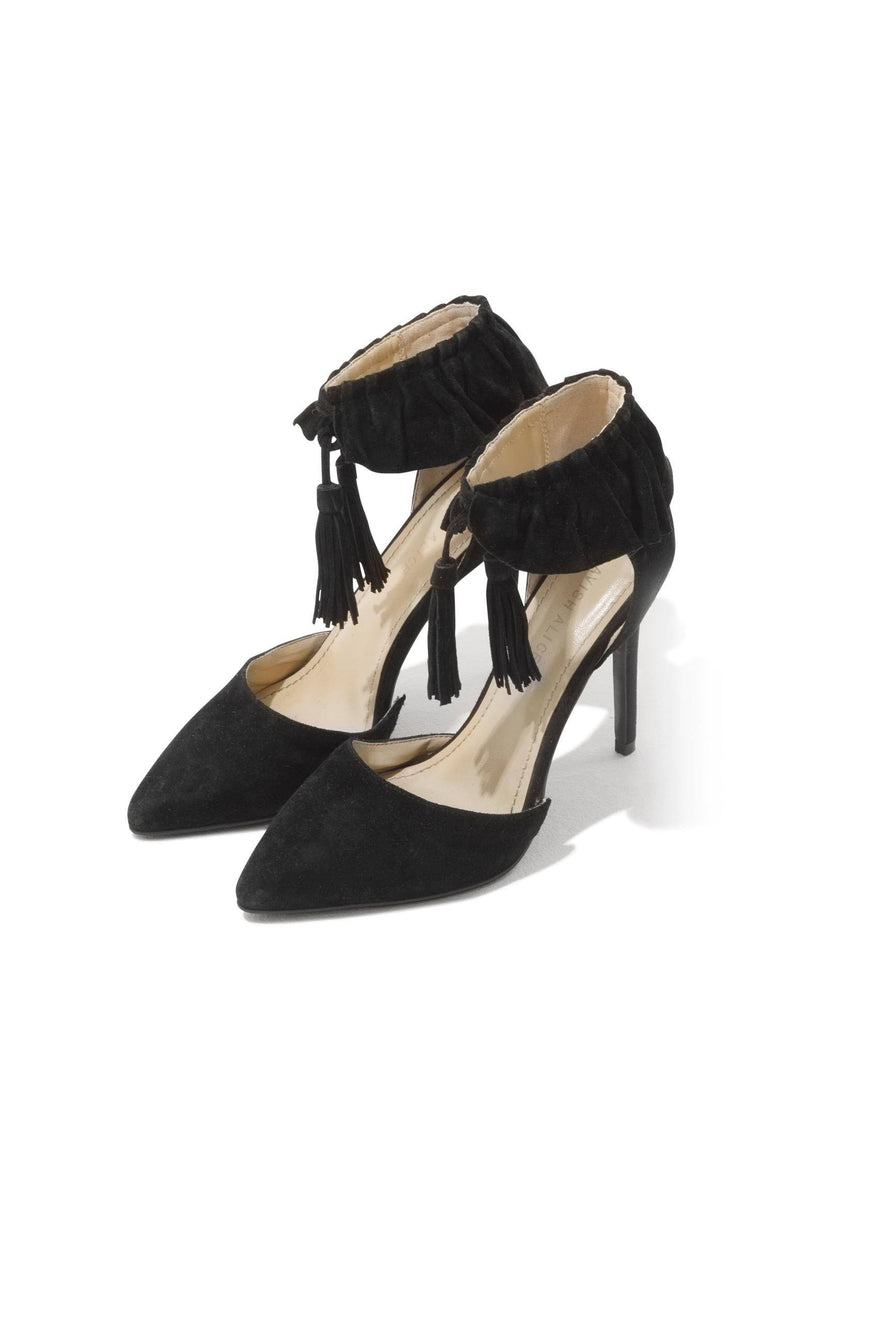 Suede Ruffle Pointed Stiletto