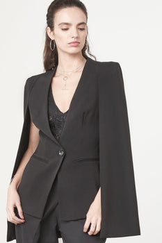 Caped Blazer in Black