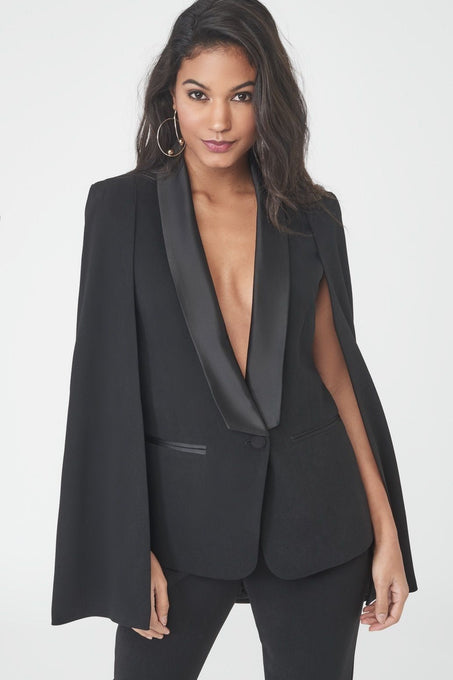 Black Fitted Cape with Satin Lapel