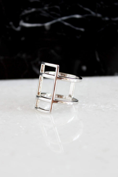 Sterling Silver Oversized Open Rectangle Ring