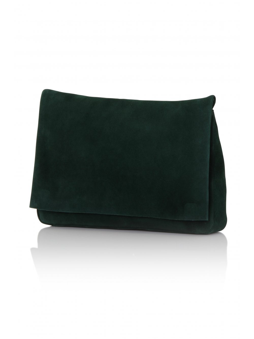Forest Green Suede Oversized Clutch Bag