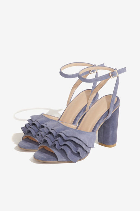 Ruffled Sandals in Dusty Blue Suede
