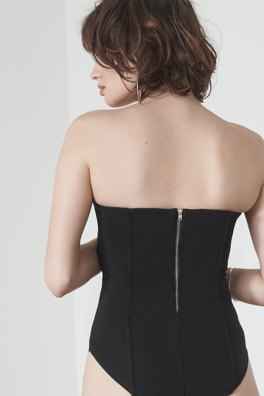 Corset Detail Bodysuit in Black