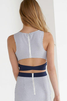 White & Navy Textured Spot Print D-Ring Crossover Crop Top
