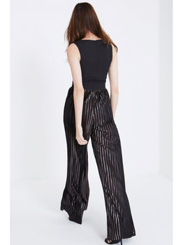 Black Metallic Pleat Wide Leg Jumpsuit