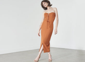 Corset Detail Midi Dress in Rust