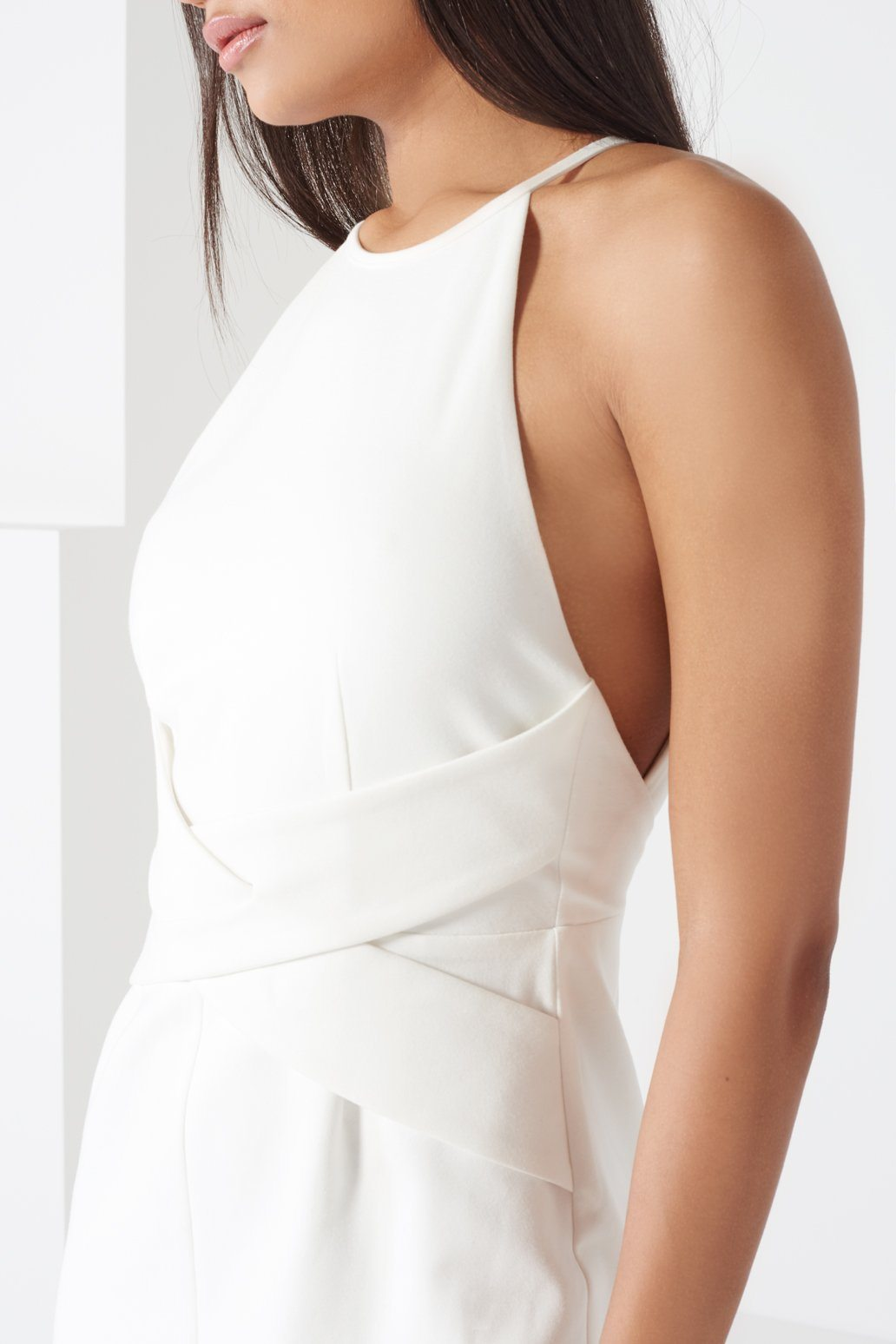 Off White Wrap Front Plunge Back Detail Midi Dress