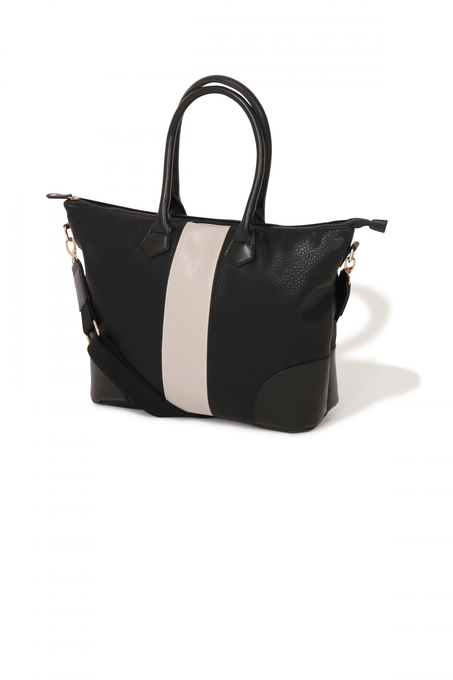 Black Contrast Stripe Tote Bag