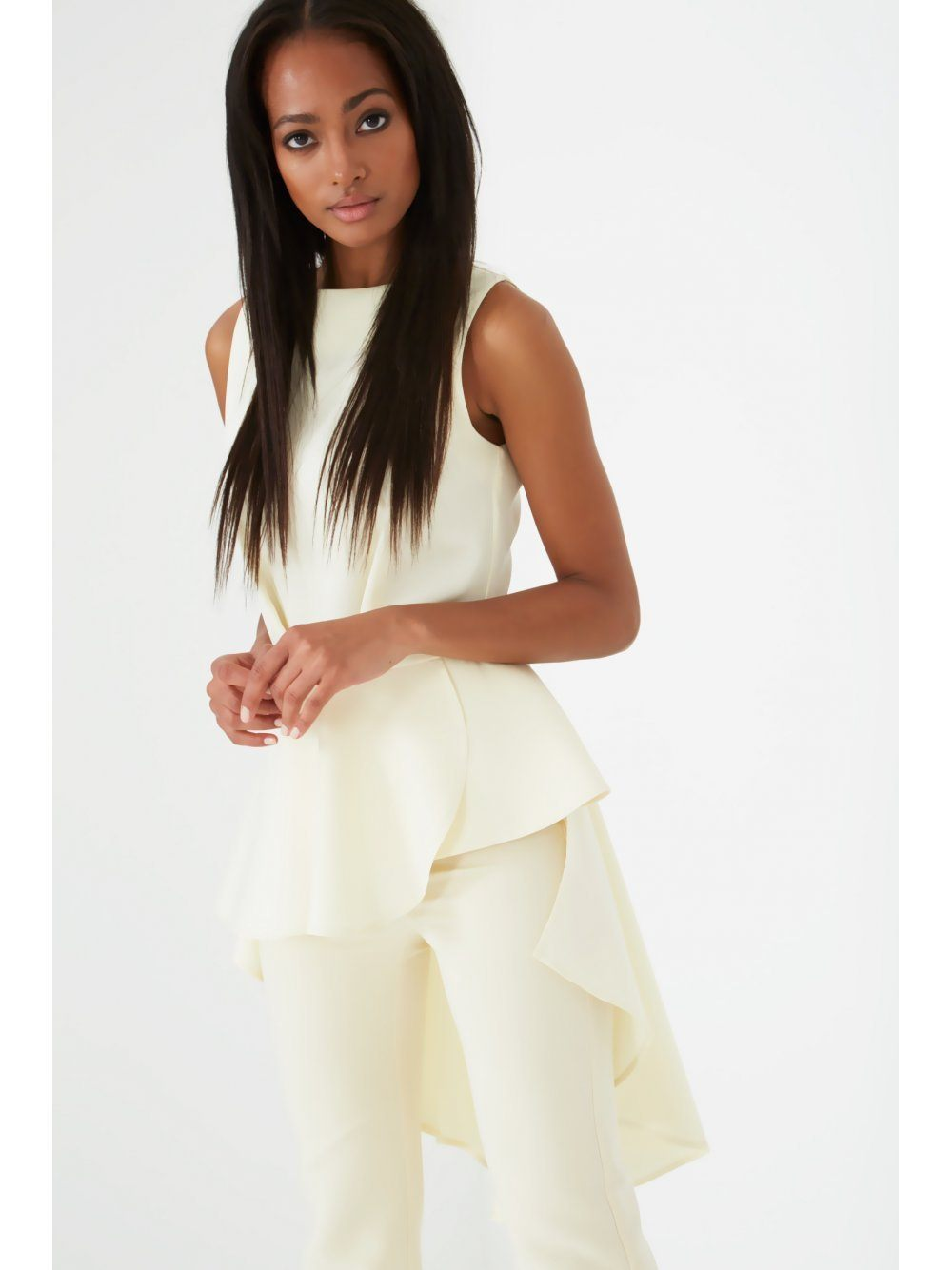 Cream Waterfall Back Structured Top