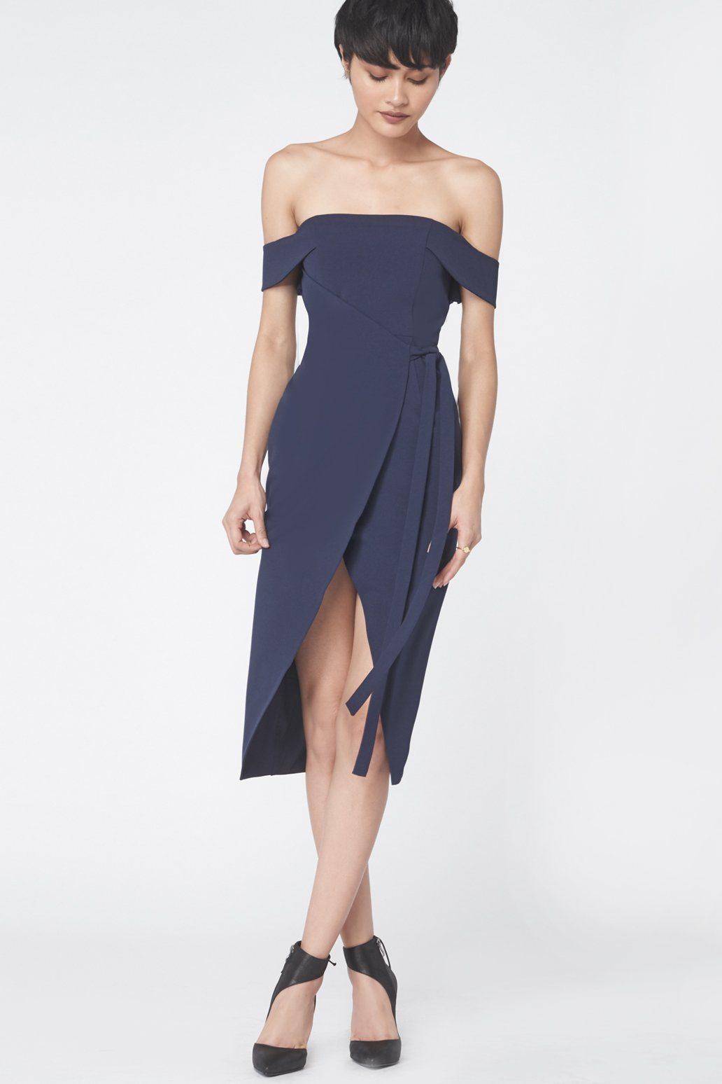 Wrap Front Bardot Dress in Navy