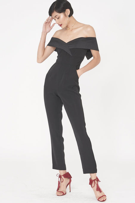 Woven Bardot Tapered Jumpsuit in Black