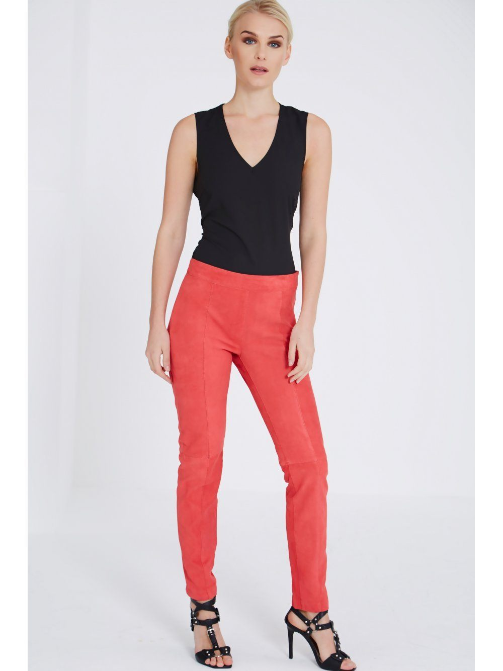 Red Suede Biker Trousers