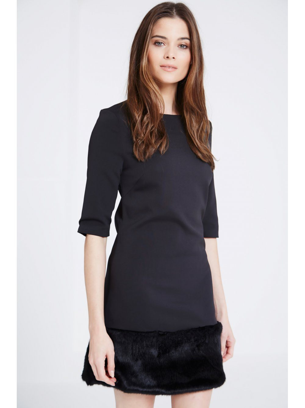 Black Faux Fur Hem Shift Dress
