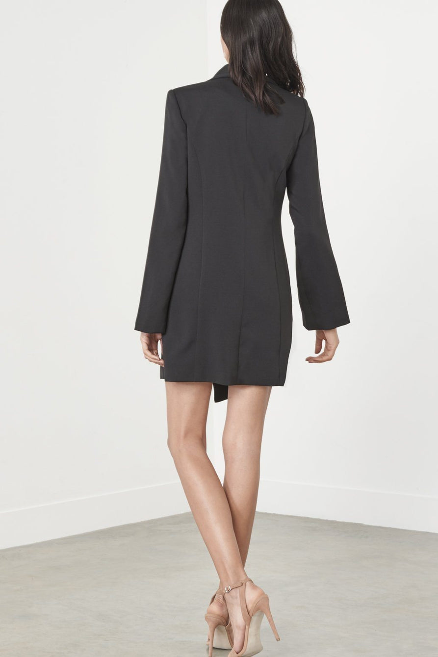 Black Split Sleeve Tuxedo Mini Dress