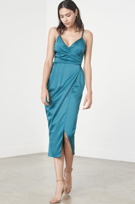 Teal Green Satin Wrap Long Midi Dress