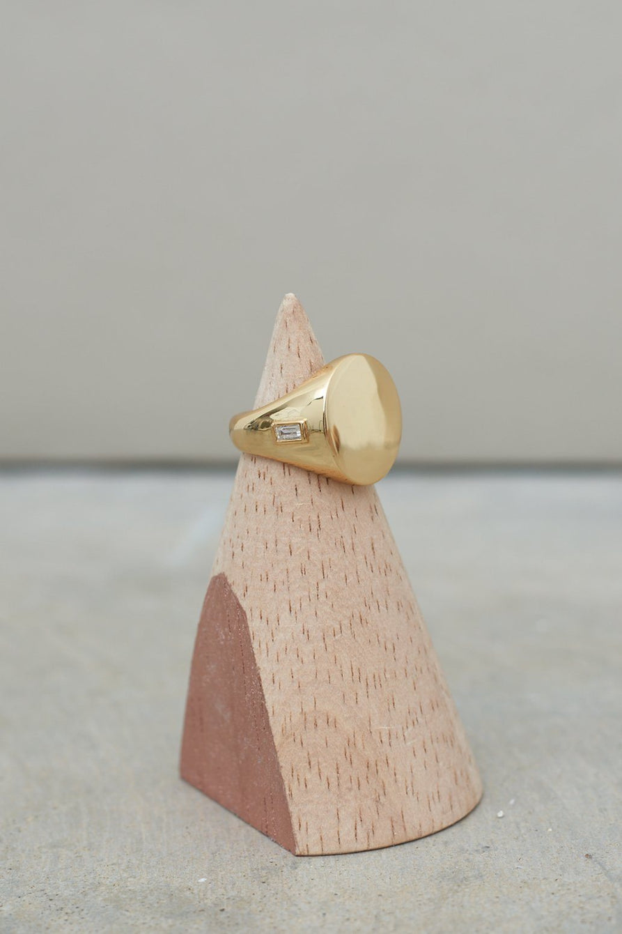 Sterling Silver Gold Plated Signet Ring