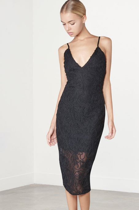 Premium Black Cornelli Cami Midi Dress