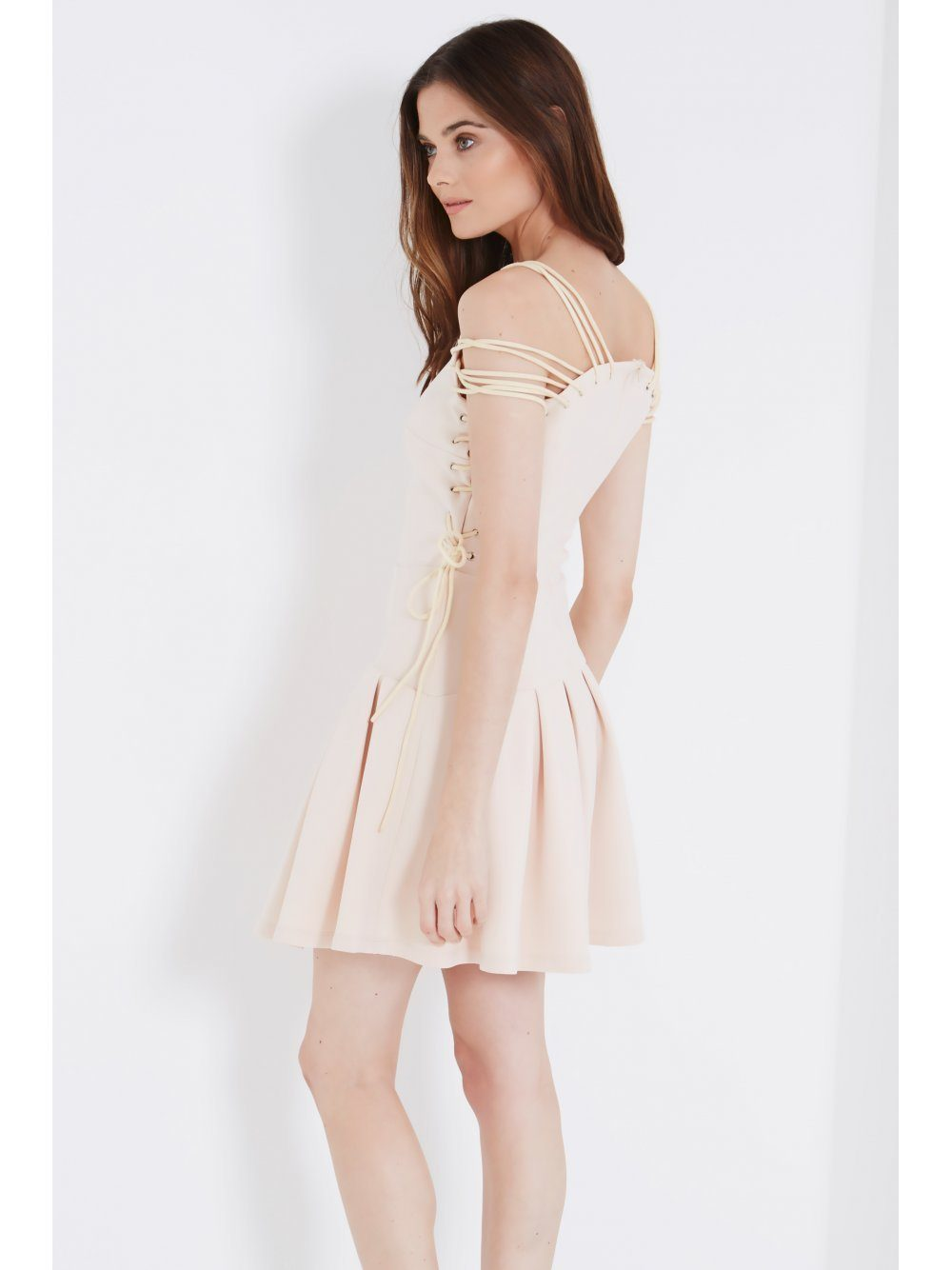 Cream Lace Up Shoulder & Side Detail Pleated Hem Mini Dress