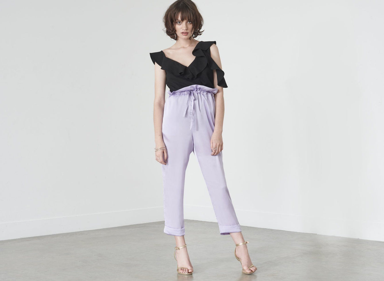 Paperbag Waist Trousers in Lilac Satin