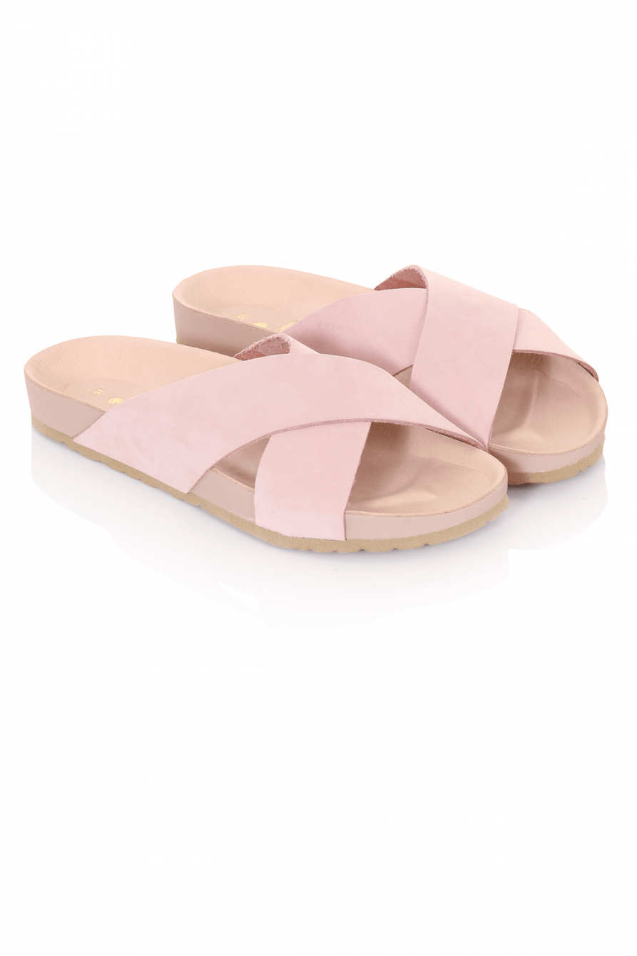 Blush Suede Crossover Sliders