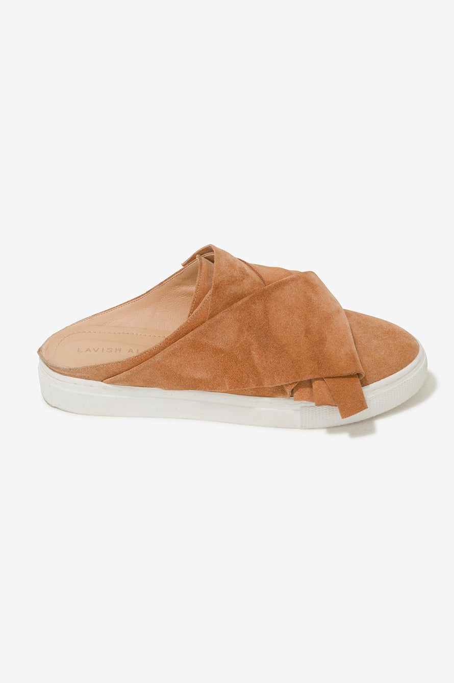 Suede Backless Trainers in Camel