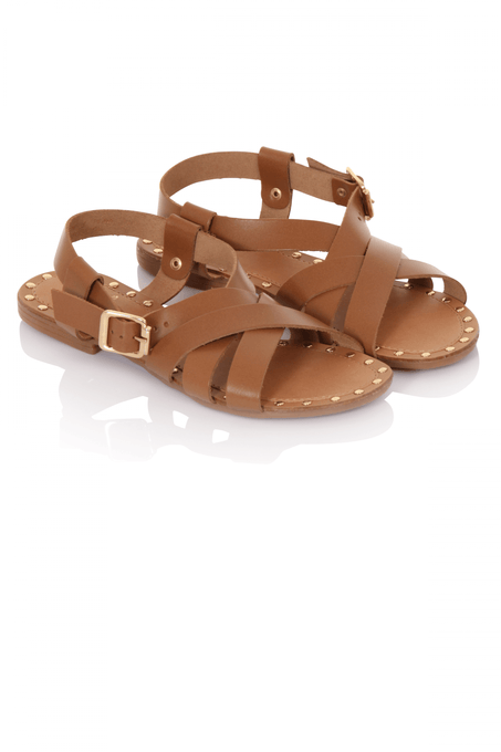 Tan Leather Stud Detail Sandals