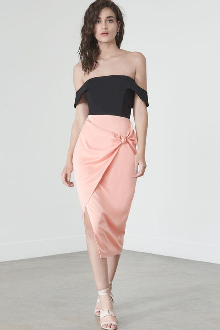 Knot-Front Skirt in Pink Satin