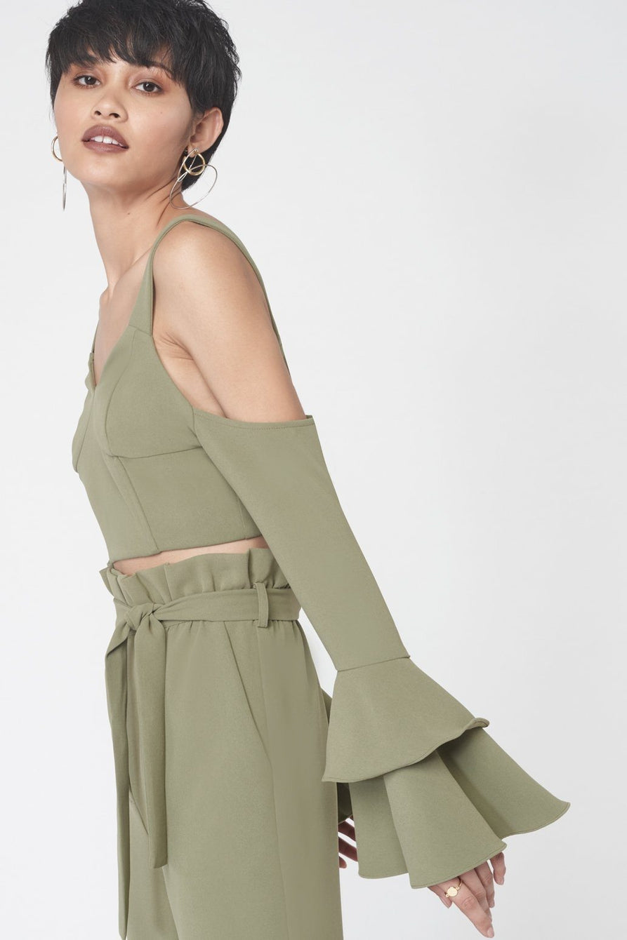 Ruffle Sleeve Cold Shoulder Crop Top in Khaki
