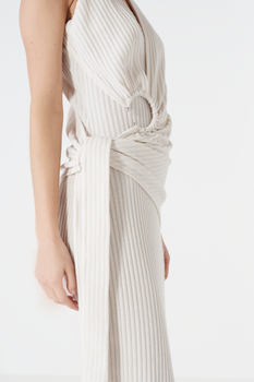 Off White Rib Knit Tie Wrap Front Open Ring Detail Midi Dress
