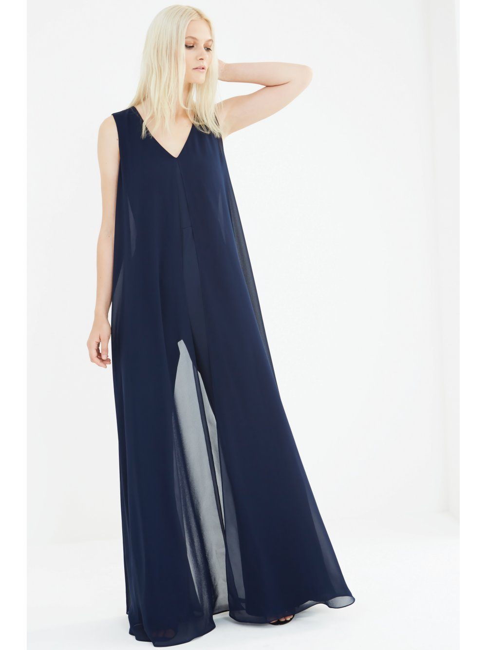 Navy Sheer Chiffon Overlay V-Neck Flared Leg Jumpsuit