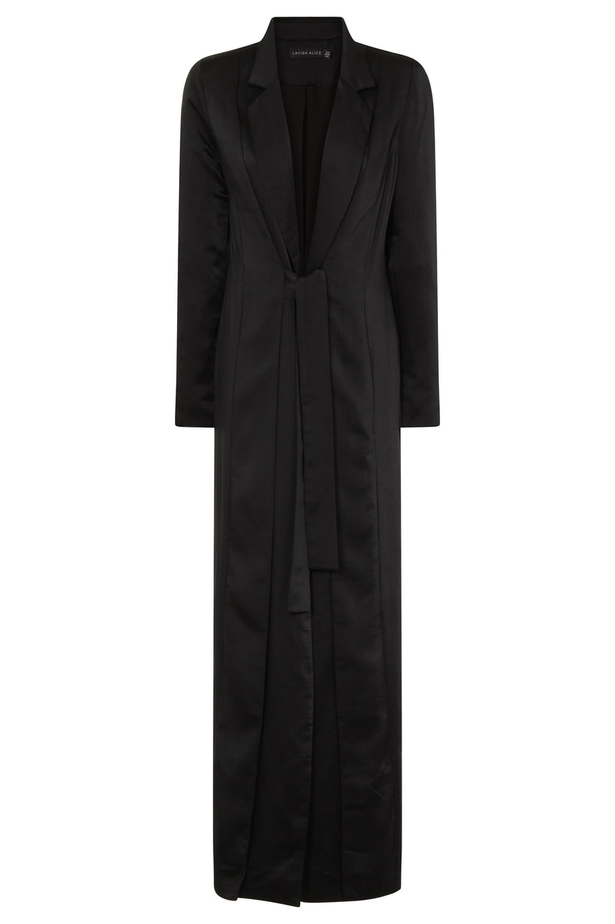 Black Satin Double Layer Maxi Duster Jacket
